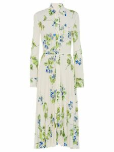 Prada floral midi shirt dress - White