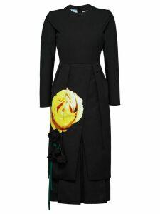 Prada Beauty Rose print dress - Black
