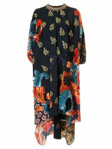 Biyan printed silk midi dress - Blue