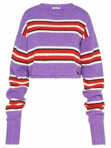 Miu Miu striped boxy fit jumper - Purple