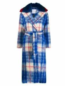Giada Benincasa plaid print contrast collar coat - Blue