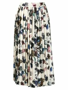 Victoria Victoria Beckham pleated crystal print skirt - Neutrals