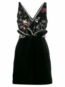 Self-Portrait Midnight Bloom sequin mini dress - Black