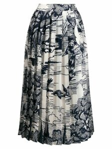 Victoria Victoria Beckham pleated print skirt - White