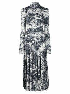 Victoria Victoria Beckham forest print pleated dress - White