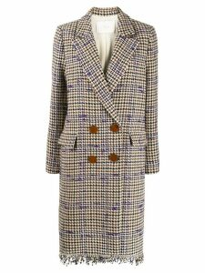 Tela houndstooth double-breasted coat - Neutrals