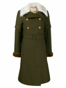 Chloé faux fur collar trench coat - Green
