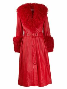 Saks Potts belted A-line shearling coat - Red