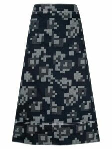 Marni pixel pattern A-line denim skirt - Blue