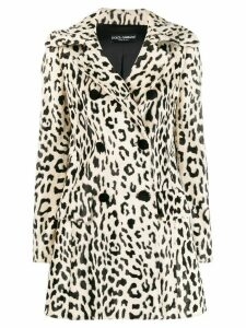Dolce & Gabbana leopard textured double breasted coat - NEUTRALS