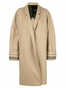 Haider Ackermann cocoon embroidered coat - Brown