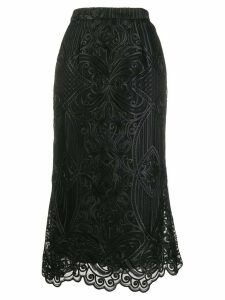 Wandering embroidered midi skirt - Black
