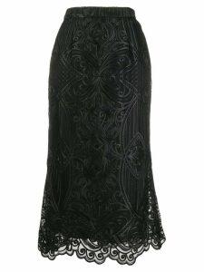 Wandering embroidered midi skirt - Black