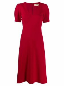Blanca v-neck midi dress - Red