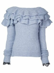 Philosophy Di Lorenzo Serafini ruffled neck jumper - Blue