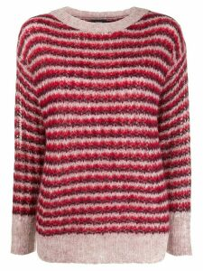 Theory striped round-neck jumper - Red