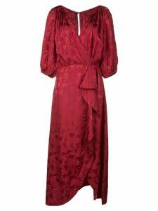Saloni Olivia wrap dress - Red