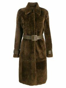 Drome belted fur coat - Brown