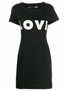 Love Moschino love-print stretch-jersey mini dress - Black