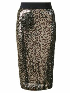 Milly leopard print glitter skirt - Gold