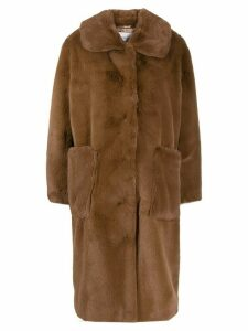 STAND STUDIO oversized faux-fur coat - Brown