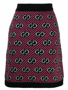 Gucci GG stripe wool jacquard skirt - Pink