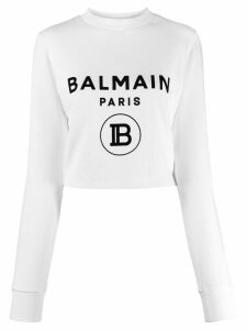 Balmain logo print sweatshirt - White