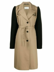 Maison Margiela colour block belted trench coat - Brown
