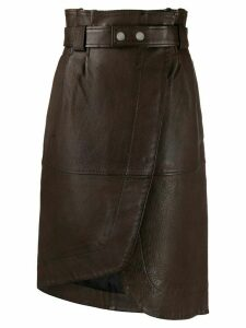 Ganni high waist leather skirt - Brown