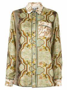Pierre-Louis Mascia Golden Bird print shirt - Brown