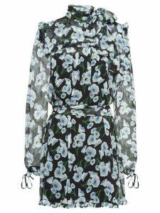 Miu Miu poppy-print silk-chiffon dress - Black