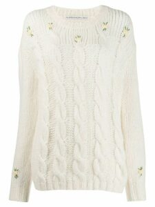 Alessandra Rich floral cable knit jumper - White