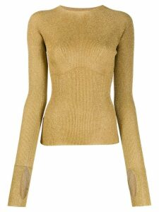LANVIN ribbed knit glitter sweater - Gold
