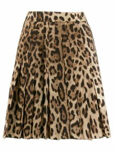 Dolce & Gabbana leopard print pleated skirt - Brown