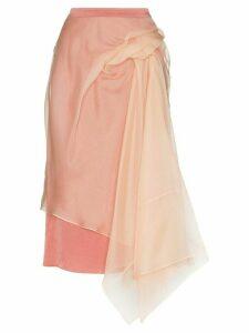 Sies Marjan layered asymmetric tulle midi skirt - Pink