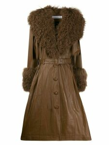 Saks Potts Foxy long belted coat - Brown