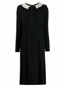 Alessandra Rich embroidered collar crepe dress - Black