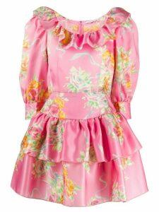 Alessandra Rich floral print organza mini dress - Pink