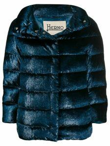 Herno velvet effect puffer jacket - Blue