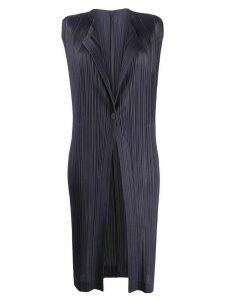 Pleats Please Issey Miyake long pleated vest - Grey