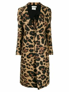 Bottega Veneta leopard single breasted coat - Brown