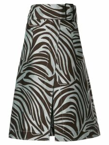 3.1 Phillip Lim zebra jacquard belted skirt - Brown