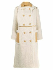 STAND STUDIO double breasted shearling coat - Neutrals