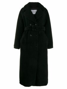 STAND STUDIO double breasted shearling coat - Black