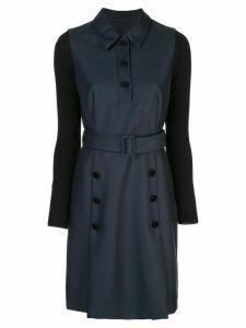 Paule Ka button detail belted dress - Blue