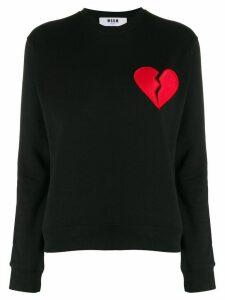 MSGM broken heart patch sweatshirt - Black