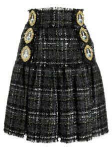 Dolce & Gabbana queen buttons tweed skirt - Black
