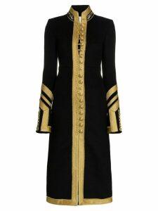 Paco Rabanne collarless military wool coat - Black
