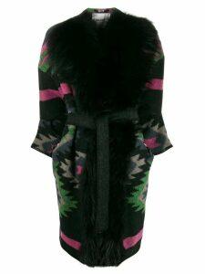 Bazar Deluxe trimmed Aztec cardi coat - Black