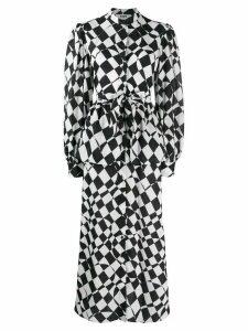 MSGM chessboard print day dress - Black